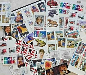 Mixed 75 of Multiples & Strips & Singles of 37¢ US USA Postage Stamps. Postcard!