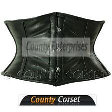 Shaper Cincher Mini Waspie Full Steel Boned Sexy Real Soft Black Leather Corset