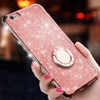 Luxury Women's Bling Diamond Ring Holder Stand Phone Case Cover For iPhone X 8 7
