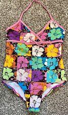 Girl's, OP, One Piece Swim Suit,Multicolored Hawaiian Flowers Size 10-12