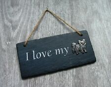 More details for papillon slate plaque rustic hanging ornament home decor valentine xmas gift
