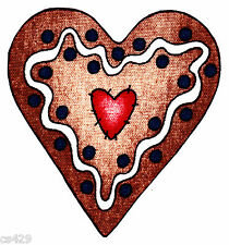 "5"" Gingerbread man heart holiday wall safe fabric decal cut out character"