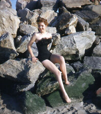 New listing Vintage Stereo Realist Photo 3D Stereoscopic Slide PINUP Redhead on Rocks