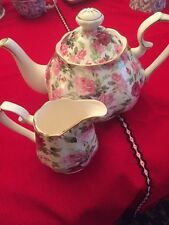 2pc Grace TeaWare teapot, Creamer & Pink Roses With Gold Trim-new