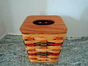 Handmade Kleenex Basket Tissue Box Holder w/ Wood Cover Lid Signed 2005
