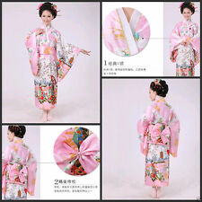 Pink Vintage Kimono Yukata Gown Japanese Floral Robe Haori Geisha Dress with Obi