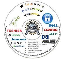 Password Recovery Reset CD Disc Microsoft Windows XP | Vista | 7 | 8 | 8.1 | 10