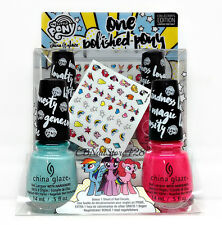 China Glaze NL - ONE POLISHED PONY My Little Pony 2 Colors .5oz+FREE Nail Decals