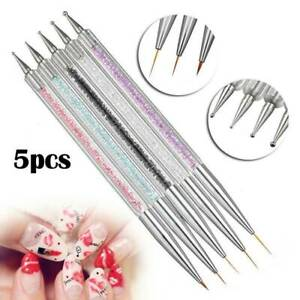 5pcs Nail Art Pen 2-Way Dotting Drawing Painting UV Gel Liner Polish Brush Set