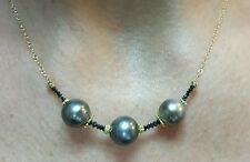 2ct faceted Genuine black Diamond Tahitian Black pearl solid 14k gold necklace