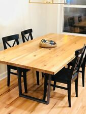 Rustic Farm Dining Table Solid Wood Farmhouse Furniture Kitchen Hickory from OH