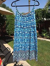 Style & Co Woman's Plus Size 1X Blue Multi Colored Spaghetti Strap Sundress NWT