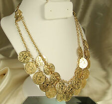 Vtg EGYPTIAN Revival BIB Necklace~2 Strands~22 Coins~Sphinxes~Adjustable~FAB!