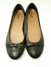 Women's Clarks Bendables Black Leather Cut Out Bow Toe Ballet Flats Size 9 M