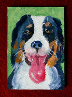 """Original art by Bastet """"Smiling Dog"""" OOAK hand painted ACEO"""