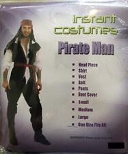 Mens Adult Pirate Costume Buccaneer Fancy Party Dress Caribbean Man