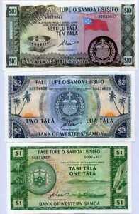 Western Samoa Set 3 UNC 1 2 10 Tala 1967 / 2020 Reprint P 16 17 18