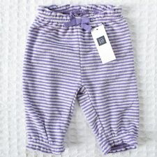New Baby Gap Girls 0-3 mos Purple Striped French Terry Pants