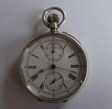 Antico 0.935 GRADE ARGENTO centro secondi swiss cronografo orologio tasca,