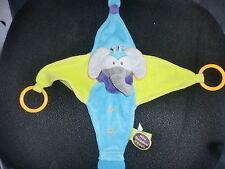 doudou plat d'éveil éléphant bleu vert jaune DOUDOU ET COMPAGNIE (2 dispo)