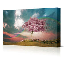 "16x12"" Cherry Tree In Blossom Landscape Large Framed Canvas Art Picture Print"