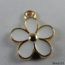 30x Gold&White Alloy Enamel Flower Petals Pendants Crafts Charms Jewelry 50994