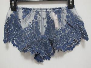 NWT Victoria's Secret Dream Angel Blue Floral Lace Mesh Sleep Short/Shortie (S)