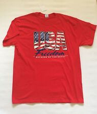 BNWT Gildan U.S.A. Freedom Because of the Brave Men's top t-shirt Sz XL Red