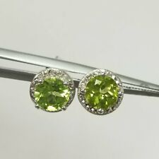 2.25Ct Peridot and Diamond Halo Stud Earring in 9K White Gold Finish