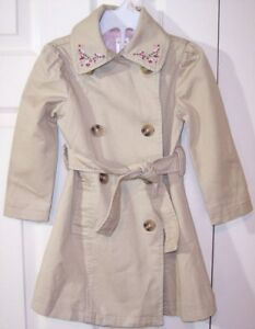 NWT Gymboree Girl's Embroidered Beige Trench Coat, Girl Detective, 4, $42.50