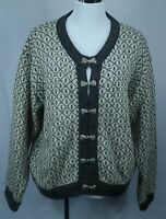 Women's LL Bean Gray/White Norwegian Wool/Rayon Clasp Cardigan Sweater - Sz M