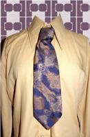 A309✪ original 70er Jahre Kult Retro Krawatte Hippie Muster blau / gold