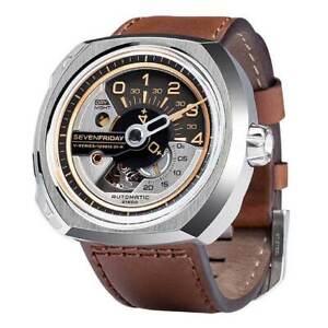 SevenFriday Men's Watch V-Series Automatic Brown Semi-Matte Leather Strap V2-01