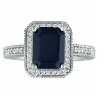 14K WHITE GOLD 3CT ANTIQUE STYLE SAPPHIRE AND DIAMOND RING