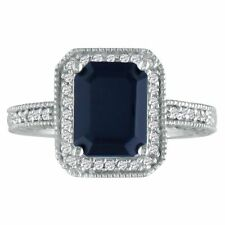 14K WHITE GOLD 3CT ANTIQUE STYLE SAPPHIRE AND DIAMOND RING, SIZES 4 - 9.5