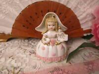 RARE Vintage Lefton Little Miss Muffet Storybook Pink Girl Figurine
