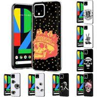 Thin Gel Design Protective Phone Case Cover for Google Pixel 4 G020I,Dark Print