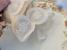Vtg Antique Hand Embroidered Net Lace Ribbon Scalloped Victorian 85�
