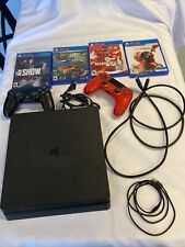 Sony PlayStation 4 Slim (PS4) 1TB Console - Jet Black W/ 2 CONTROLLERS & 4 GAMES