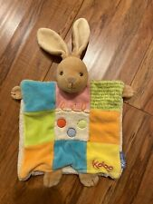 """Kaloo Brown Bunny Rabbit Colorful Baby Security Blanket Lovey 8"""" Hand Puppet"""