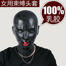 Latex Mask with red mouth lip facing sheath tongue nose tube(Fits 53-57cm)