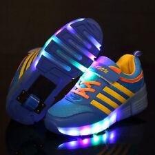 Kids Roller Shoes Boys Girls Sports Wheels Skates Gift Flash LED Heelys Trainers Blue EUR 34 UK 2