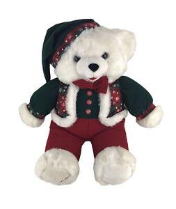 "Vintage 1994 Plush Snowflake CHRISTMAS SANTA TEDDY BEAR Boy 22"" Adorable!"
