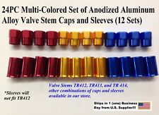 24pc VALVE STEM DRESS UP KIT-Anodized Aluminum Alloy, Caps with Sleeves-Multi