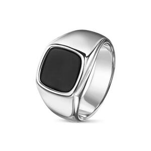 Herren Ring Onyx schwarz 18K 750er Weißgold vergoldet silber Edelstahl R6047D