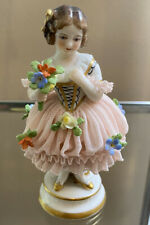 RARE 🏺 Volkstedt Dresden German Antique  Figurine LACE percelain MZ statue VTG