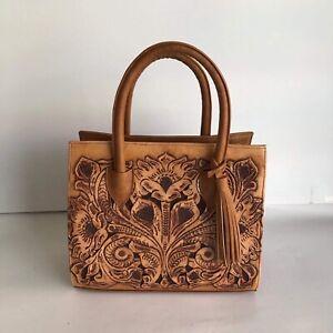 Women Leather Cincelada Handmade Ladies Shoulder Bag Authentic Mexican Artisan