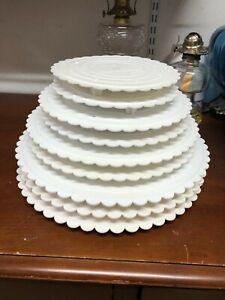 Lot of 9 Wilton Decorator Preferred Round Scalloped Edge Cake Separator Plates