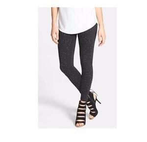 NEW Nordstrom Brand Sparkly Rhinestone Bejeweled Ponte Leggings BLACK XL