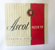 OLD CIGARETTE - TOBACCO PACKET LABEL. ASCOT FILTER TIP